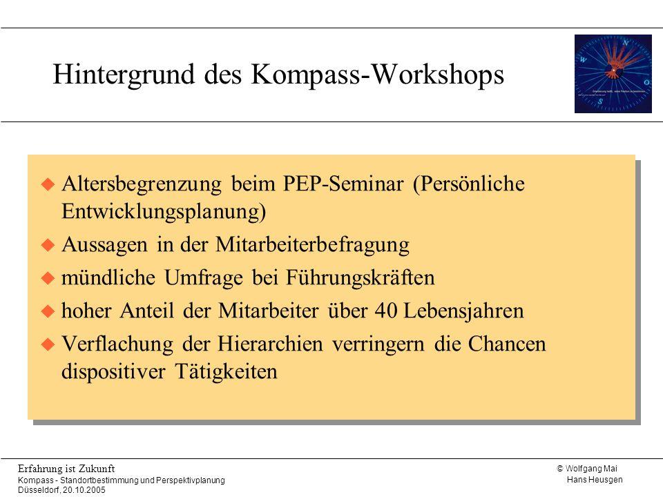 © Wolfgang Mai Hans Heusgen Erfahrung ist Zukunft Kompass - Standortbestimmung und Perspektivplanung Düsseldorf, 20.10.2005 Der Kompass - Workshop Ablaufplan