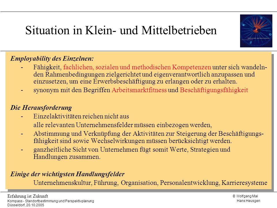 © Wolfgang Mai Hans Heusgen Erfahrung ist Zukunft Kompass - Standortbestimmung und Perspektivplanung Düsseldorf, 20.10.2005 Mit Kompass Gestaltungs- maßnahmen wirklich umsetzen.