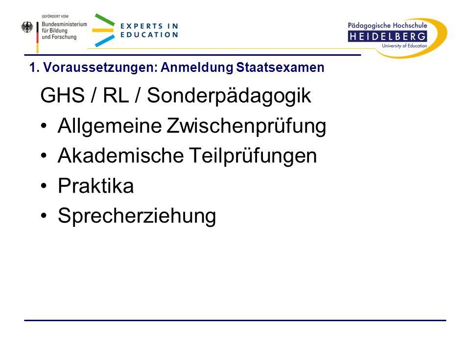 1. Voraussetzungen: Anmeldung Staatsexamen GHS / RL / Sonderpädagogik Allgemeine Zwischenprüfung Akademische Teilprüfungen Praktika Sprecherziehung