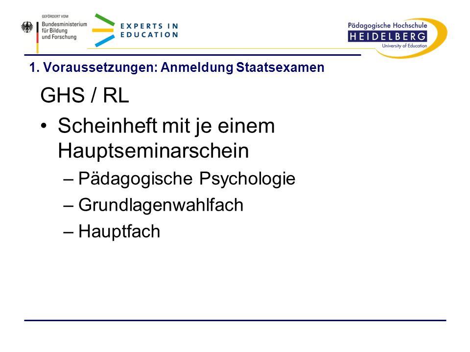 1. Voraussetzungen: Anmeldung Staatsexamen GHS / RL Scheinheft mit je einem Hauptseminarschein –Pädagogische Psychologie –Grundlagenwahlfach –Hauptfac