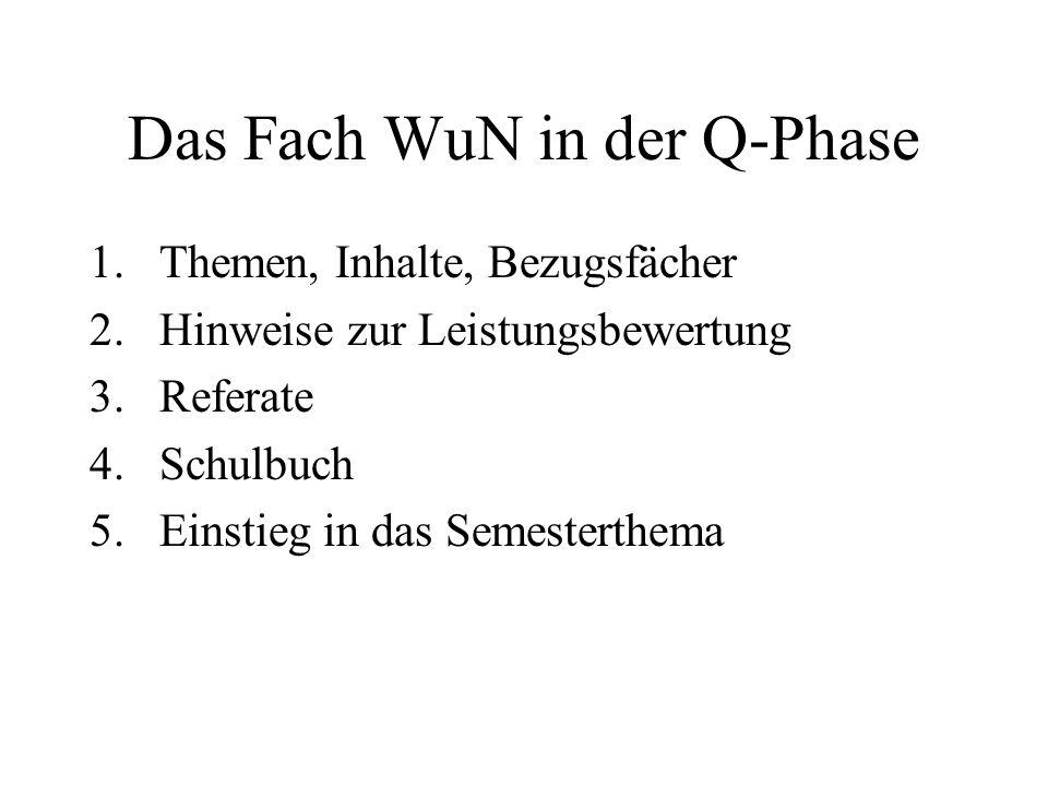 Das Fach WuN in der Q-Phase 1.Themen, Inhalte, Bezugsfächer 2.Hinweise zur Leistungsbewertung 3.Referate 4.Schulbuch 5.Einstieg in das Semesterthema