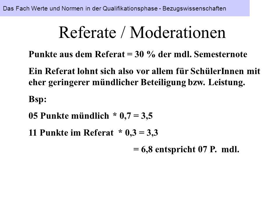 Referate / Moderationen Punkte aus dem Referat = 30 % der mdl. Semesternote Ein Referat lohnt sich also vor allem für SchülerInnen mit eher geringerer