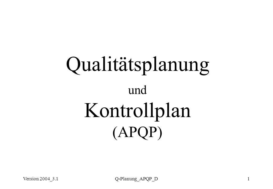 Version 2004_3.1Q-Planung_APQP_D1 Qualitätsplanung und Kontrollplan (APQP)