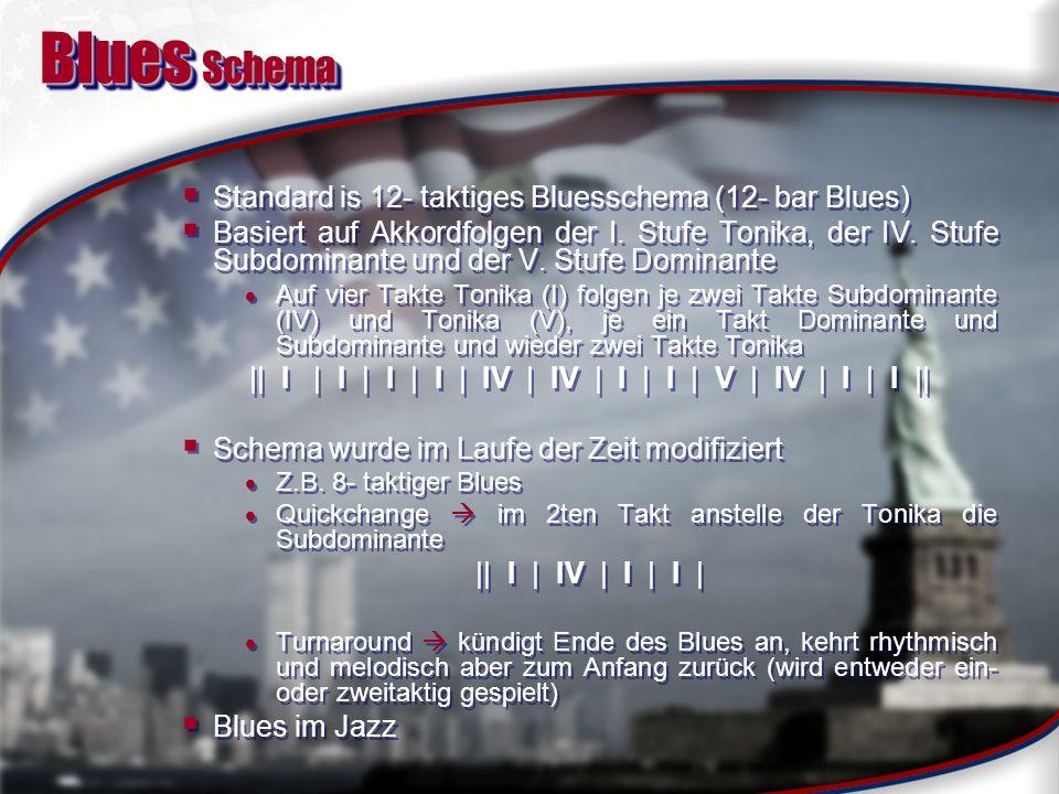 Blues Melodik und Instrumentierung Melodischer Aufbau entspricht dem inhaltlichen Typisch: Blues Notes Stammen aus afrikanischer Pentatonik und passen nicht in 12-Tonraum Blue Notes = verminderte Töne der Dur und Molltonleiter Typisches Schema der Moll- Bluestonleiter 1 - b3 - 4 - b5 - 5 - b7 – 8 Dur- Bluestonleiter 1 - 2 - b3 - 3 - 5 - 6 - b7 – 8 Schema einer Bluestonleiter (C-Blues) Instrumente Zu Anfang wurde Blues meist von Tanz- Orchestern gespielt (Bläser, Bass...) Ab Mitte der 20er wurde akkustische Gitarre prägend Im Grunde keine Vorgaben bei Besetzung Banjo, Klarinette, Fiddle, im Grunde alle Instrumente zu verbauen Für den Bass sorgten Tuba oder Jug Melodischer Aufbau entspricht dem inhaltlichen Typisch: Blues Notes Stammen aus afrikanischer Pentatonik und passen nicht in 12-Tonraum Blue Notes = verminderte Töne der Dur und Molltonleiter Typisches Schema der Moll- Bluestonleiter 1 - b3 - 4 - b5 - 5 - b7 – 8 Dur- Bluestonleiter 1 - 2 - b3 - 3 - 5 - 6 - b7 – 8 Schema einer Bluestonleiter (C-Blues) Instrumente Zu Anfang wurde Blues meist von Tanz- Orchestern gespielt (Bläser, Bass...) Ab Mitte der 20er wurde akkustische Gitarre prägend Im Grunde keine Vorgaben bei Besetzung Banjo, Klarinette, Fiddle, im Grunde alle Instrumente zu verbauen Für den Bass sorgten Tuba oder Jug
