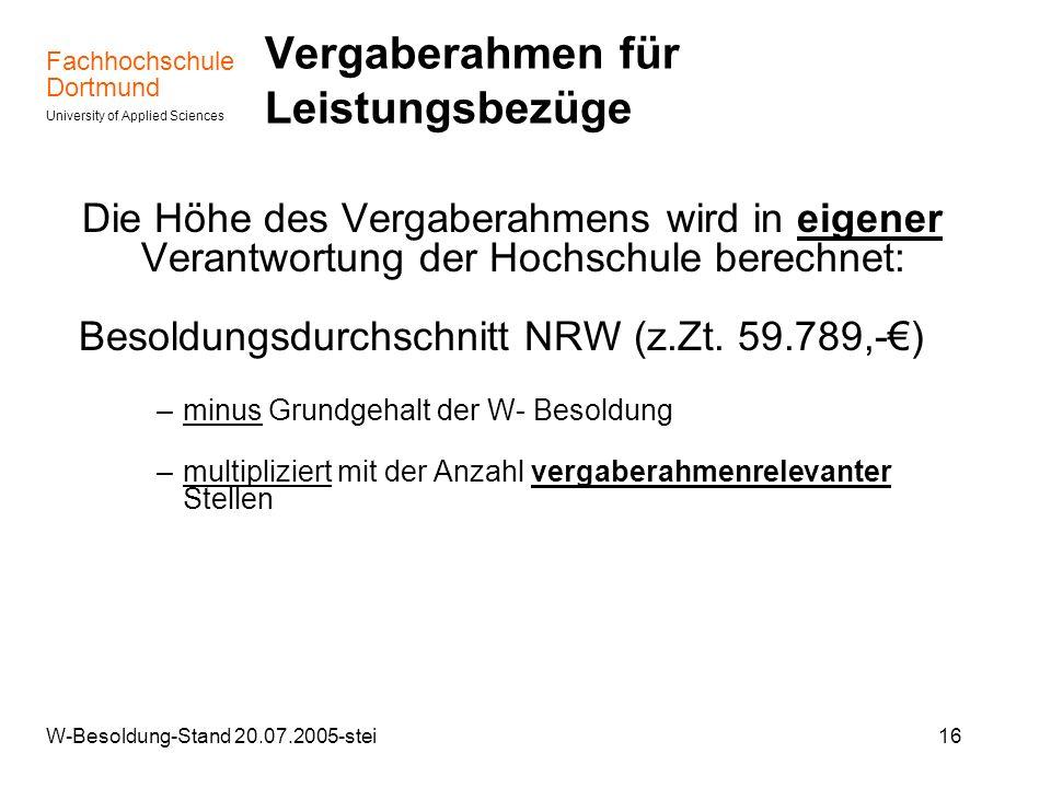 Fachhochschule Dortmund University of Applied Sciences W-Besoldung-Stand 20.07.2005-stei16 Vergaberahmen für Leistungsbezüge Die Höhe des Vergaberahme