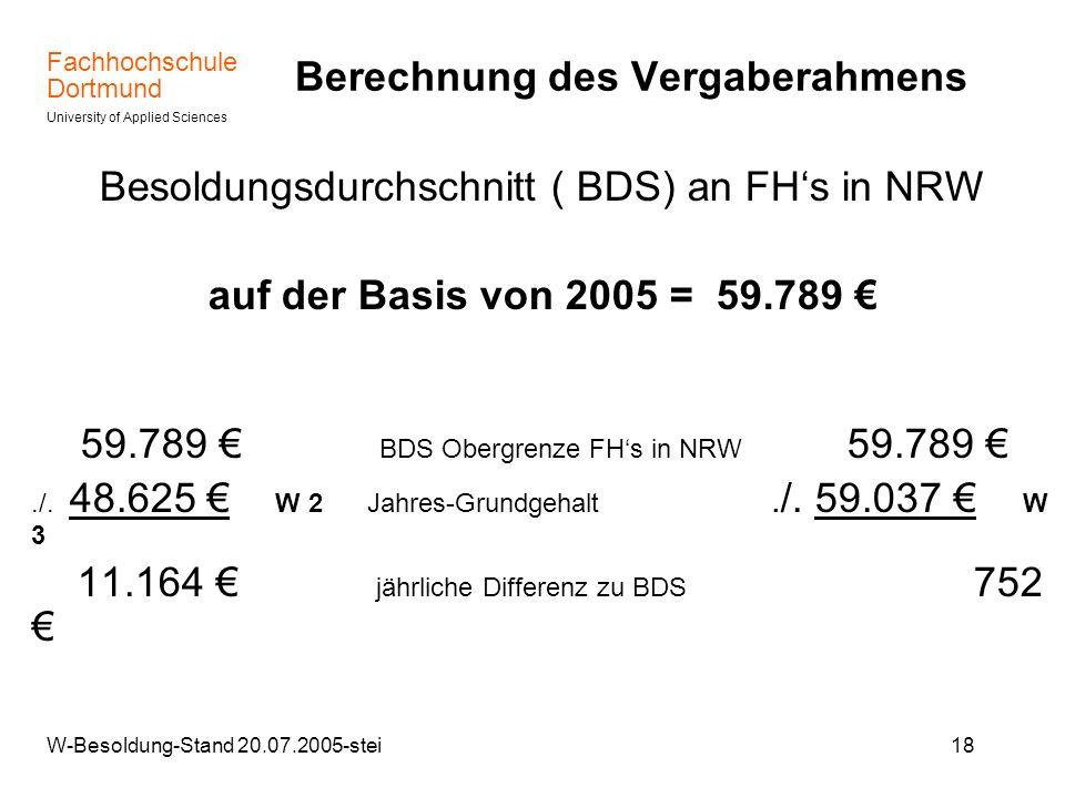 Fachhochschule Dortmund University of Applied Sciences W-Besoldung-Stand 20.07.2005-stei18 Berechnung des Vergaberahmens Besoldungsdurchschnitt ( BDS)