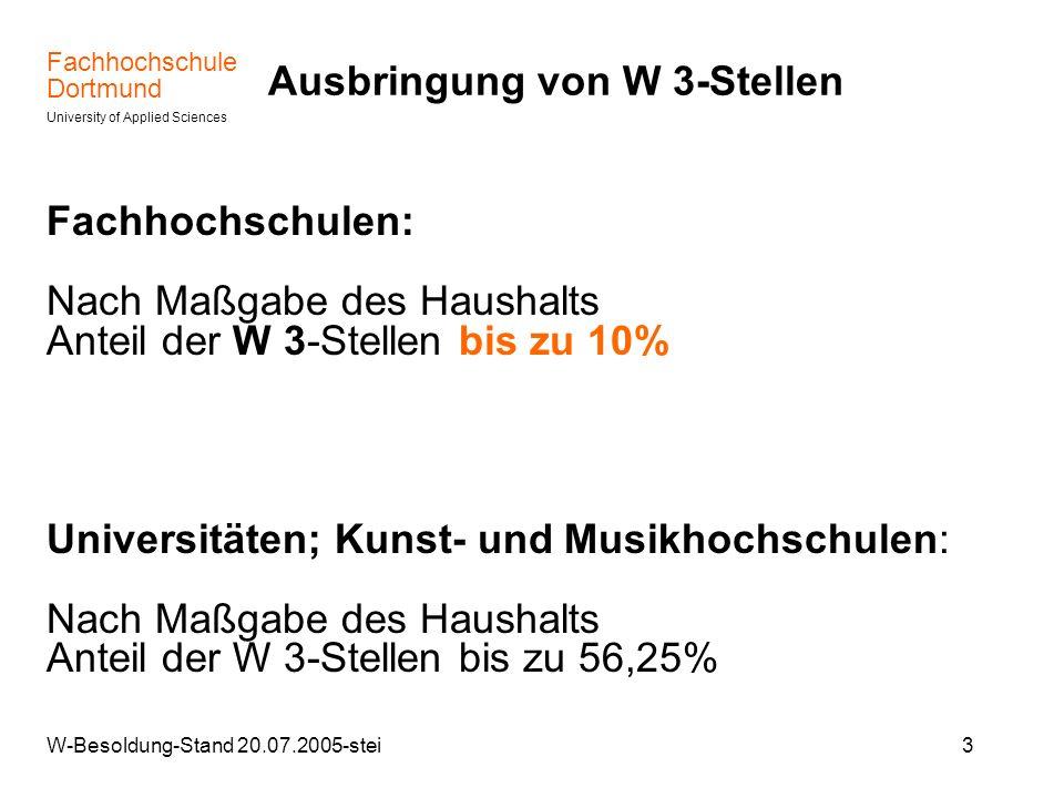 Fachhochschule Dortmund University of Applied Sciences W-Besoldung-Stand 20.07.2005-stei4 Übergang von der C- zur W- Besoldung – Von C 4 bundesgesetzlich zwingend nach W 3 – Von C 3 oder C 2 nach W 2 oder W 3 nach näherer landesgesetzlicher Regelung; Bisherige Sprachregelung MWF : Von C 3 und C 2 > W 2 > auf Antrag Von C 2 und W 2 > W 3> im Rahmen von Berufungsverfahren
