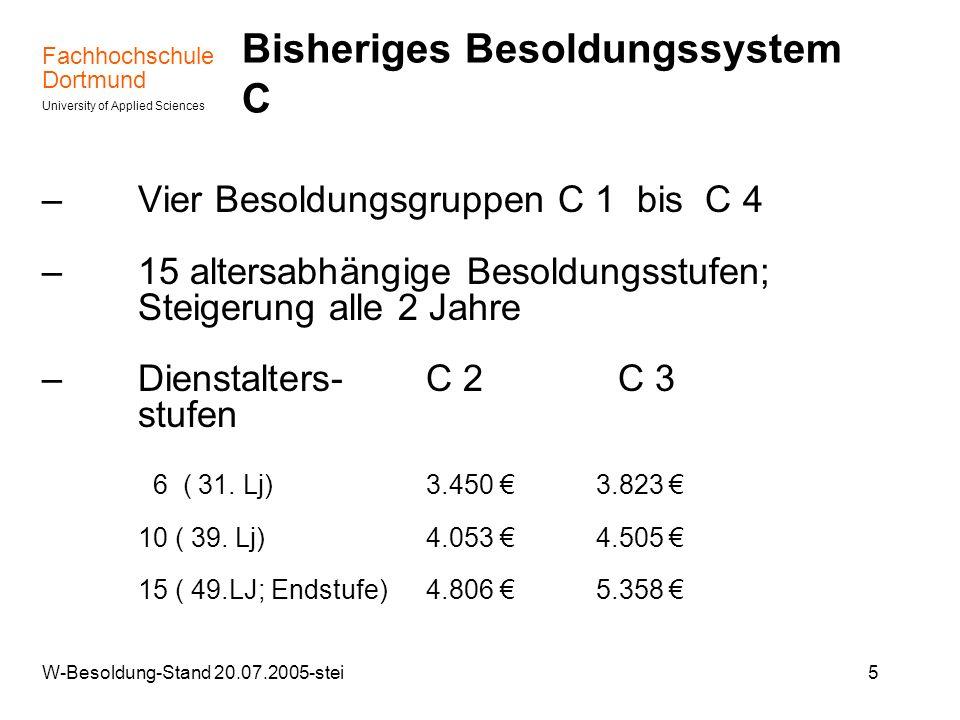 Fachhochschule Dortmund University of Applied Sciences W-Besoldung-Stand 20.07.2005-stei6 Neues Besoldungssystem W – Drei Ämter mit festen Grundgehältern (Stand 01.08.2004) – W 1: 3.405 (nur an Univ./gleichgest.