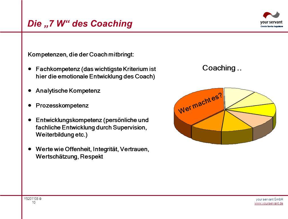 YS201108 © 10 Durch Service begeistern your servant GmbH www.yourservant.de Kompetenzen, die der Coach mitbringt: Fachkompetenz (das wichtigste Kriter