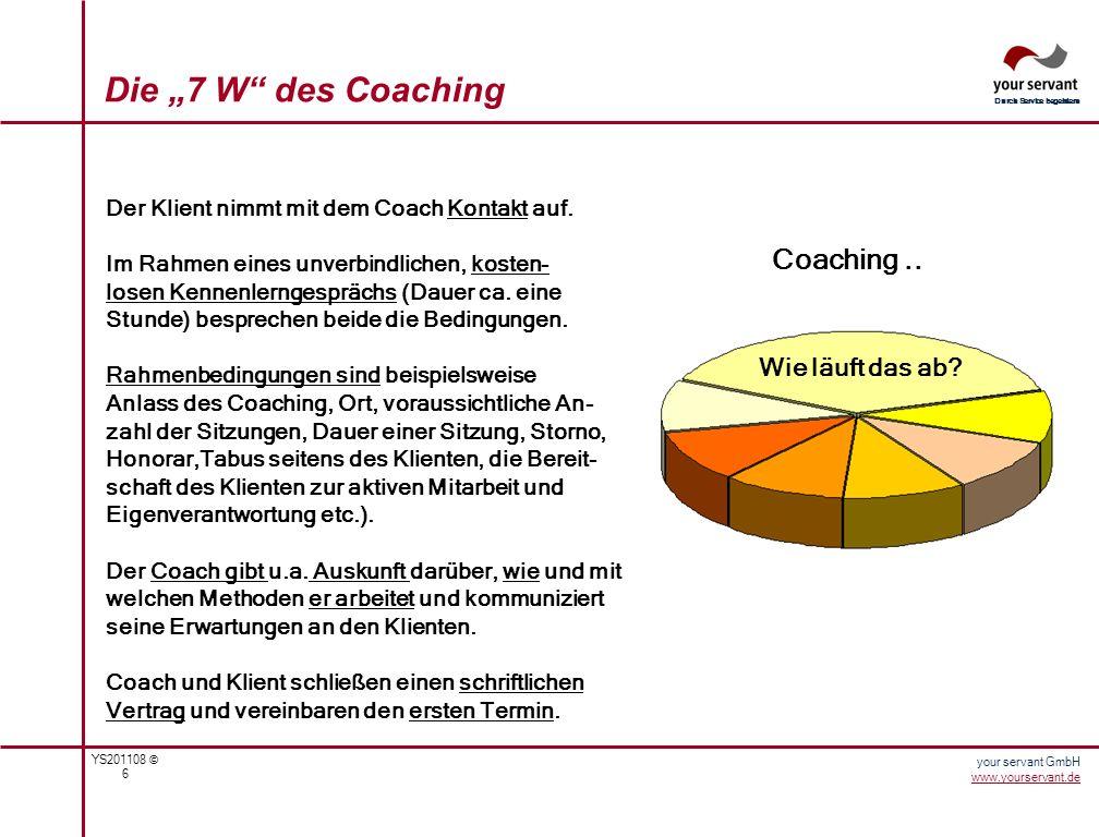YS201108 © 7 Durch Service begeistern your servant GmbH www.yourservant.de Die 7 W des Coaching Coaching..