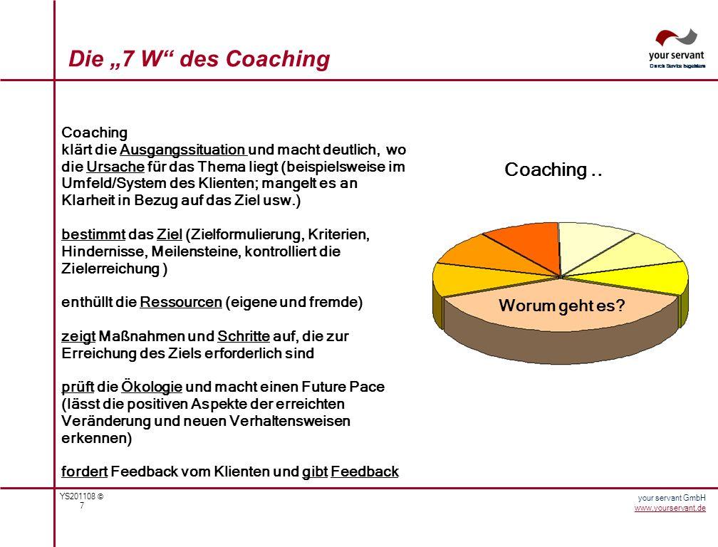 YS201108 © 7 Durch Service begeistern your servant GmbH www.yourservant.de Die 7 W des Coaching Coaching.. Worum geht es? Coaching klärt die Ausgangss