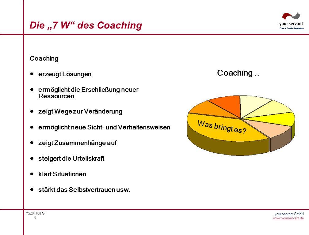 YS201108 © 9 Durch Service begeistern your servant GmbH www.yourservant.de Nach der Art der Klienten wird zwischen Einzel-Coaching, Paar-Coaching und Gruppen- Coaching unterschieden.