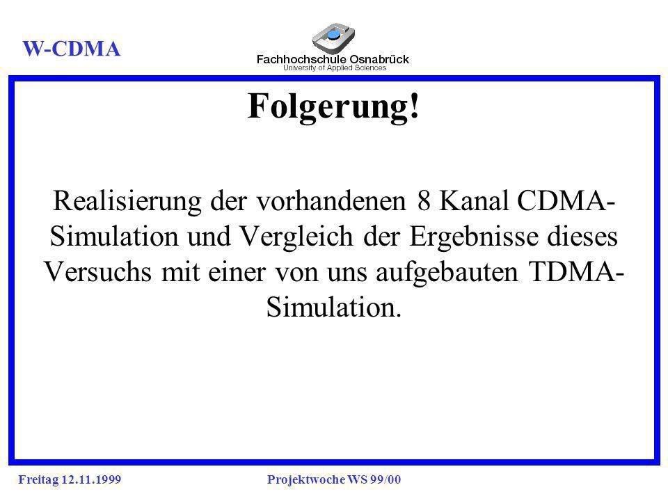 Freitag 12.11.1999Projektwoche WS 99/00 Folgerung.