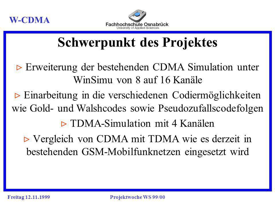 Freitag 12.11.1999Projektwoche WS 99/00 Schwerpunkt des Projektes g Erweiterung der bestehenden CDMA Simulation unter WinSimu von 8 auf 16 Kanäle Einarbeitung in die verschiedenen Codiermöglichkeiten wie Gold- und Walshcodes sowie Pseudozufallscodefolgen TDMA-Simulation mit 4 Kanälen Vergleich von CDMA mit TDMA wie es derzeit in bestehenden GSM-Mobilfunknetzen eingesetzt wird W-CDMA