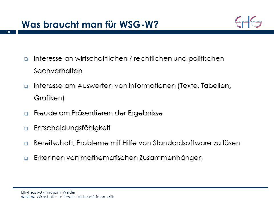 18 Was braucht man für WSG-W? Elly-Heuss-Gymnasium Weiden WSG-W : Wirtschaft und Recht, Wirtschaftsinformatik Interesse an wirtschaftlichen / rechtlic