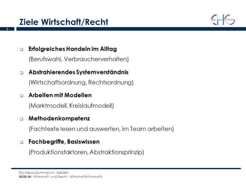 4 Lerninhalte im Vergleich (Wirtschaftsinformatik nur im WSG-W) Elly-Heuss-Gymnasium Weiden WSG-W : Wirtschaft und Recht, Wirtschaftsinformatik WSG-WSG/WSG-S 8.