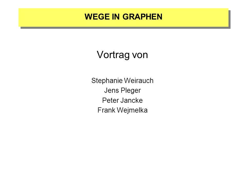 Vortrag von Stephanie Weirauch Jens Pleger Peter Jancke Frank Wejmelka WEGE IN GRAPHEN