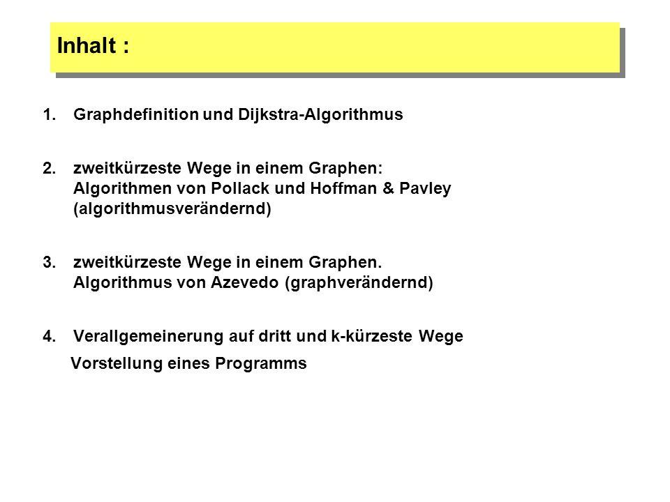 Inhalt : 1.Graphdefinition und Dijkstra-Algorithmus 2.zweitkürzeste Wege in einem Graphen: Algorithmen von Pollack und Hoffman & Pavley (algorithmusve