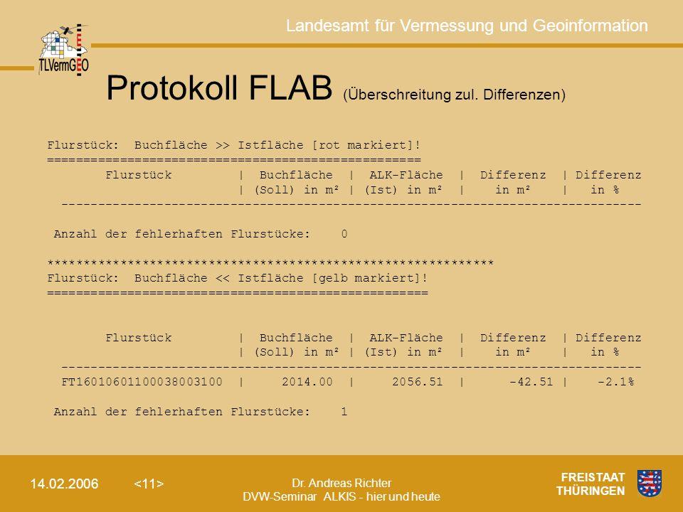 Landesamt für Vermessung und Geoinformation Dr. Andreas Richter DVW-Seminar ALKIS - hier und heute 14.02.2006 FREISTAAT THÜRINGEN Protokoll FLAB (Über