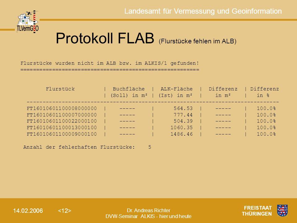 Landesamt für Vermessung und Geoinformation Dr. Andreas Richter DVW-Seminar ALKIS - hier und heute 14.02.2006 FREISTAAT THÜRINGEN Protokoll FLAB (Flur