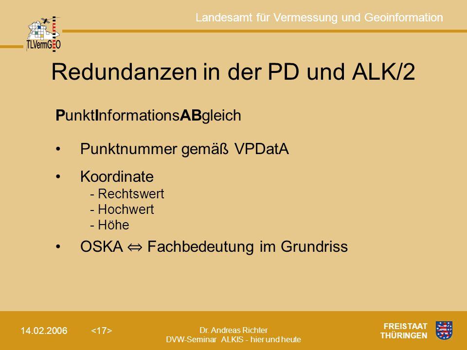 Landesamt für Vermessung und Geoinformation Dr. Andreas Richter DVW-Seminar ALKIS - hier und heute 14.02.2006 FREISTAAT THÜRINGEN Redundanzen in der P