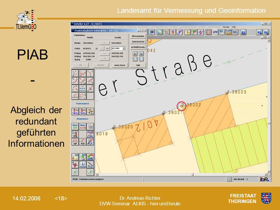 Landesamt für Vermessung und Geoinformation Dr. Andreas Richter DVW-Seminar ALKIS - hier und heute 14.02.2006 FREISTAAT THÜRINGEN PIAB - Abgleich der