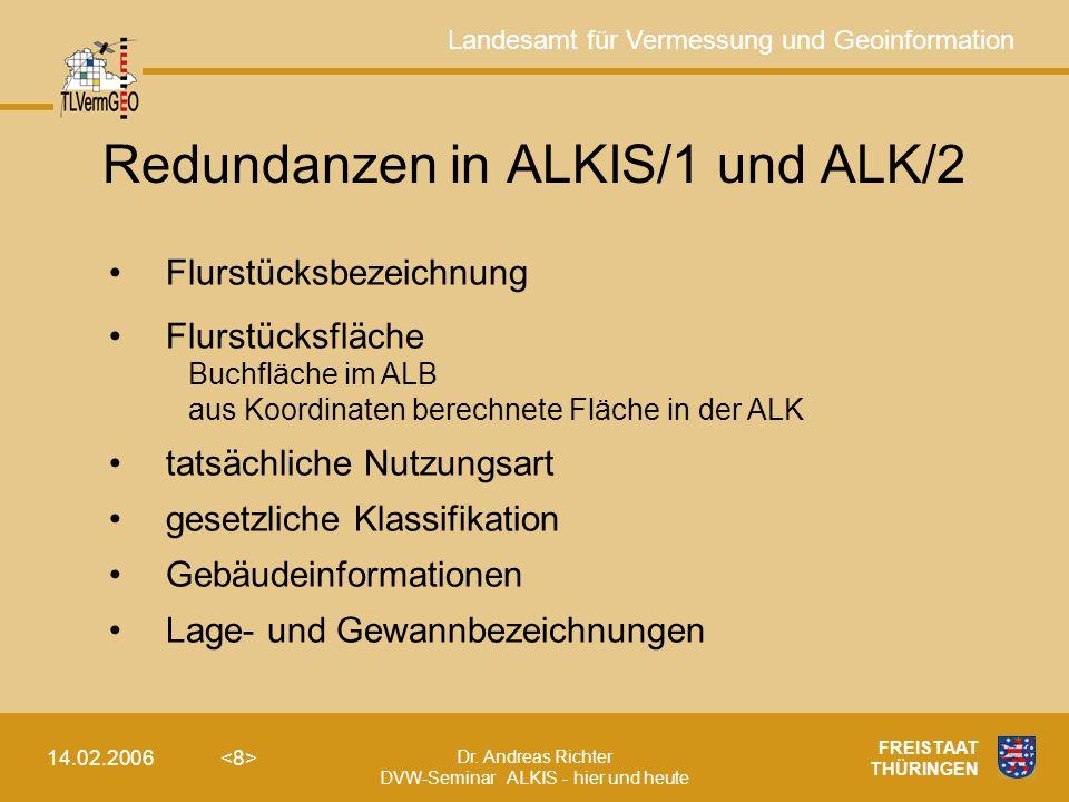 Landesamt für Vermessung und Geoinformation Dr. Andreas Richter DVW-Seminar ALKIS - hier und heute 14.02.2006 FREISTAAT THÜRINGEN Redundanzen in ALKIS