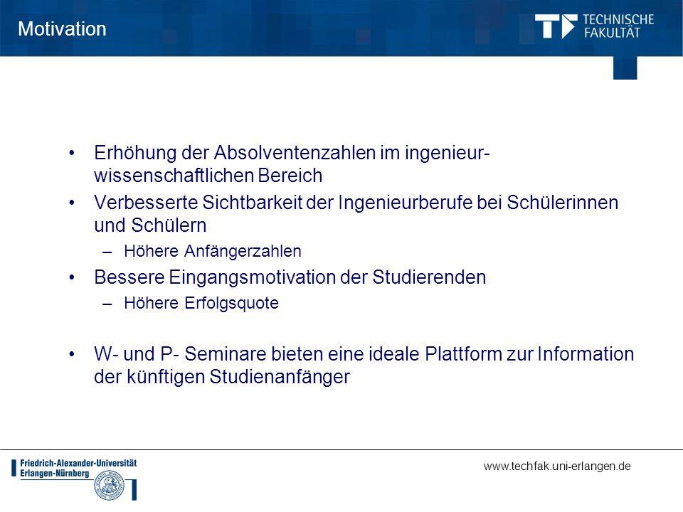 www.techfak.uni-erlangen.de Motivation Erhöhung der Absolventenzahlen im ingenieur- wissenschaftlichen Bereich Verbesserte Sichtbarkeit der Ingenieurb