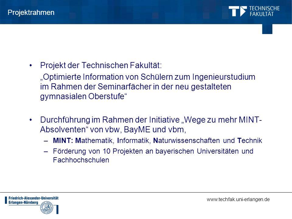 www.techfak.uni-erlangen.de Projektrahmen Projekt der Technischen Fakultät: Optimierte Information von Schülern zum Ingenieurstudium im Rahmen der Sem
