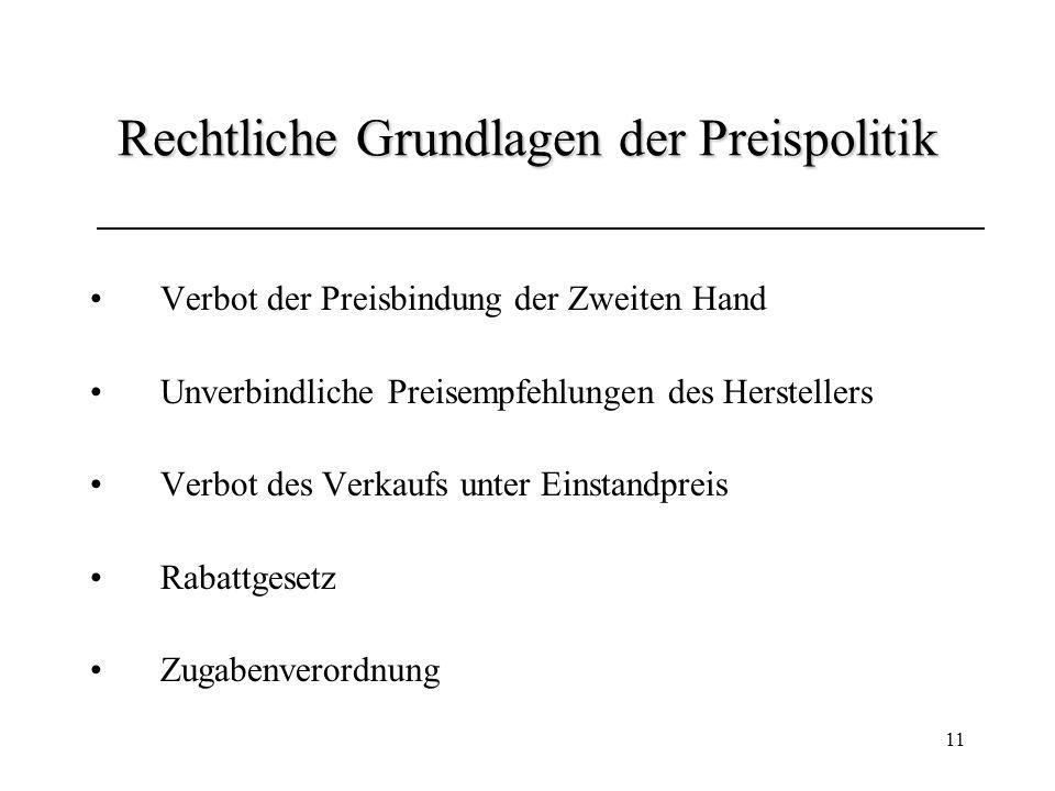 11 Rechtliche Grundlagen der Preispolitik Verbot der Preisbindung der Zweiten Hand Unverbindliche Preisempfehlungen des Herstellers Verbot des Verkauf