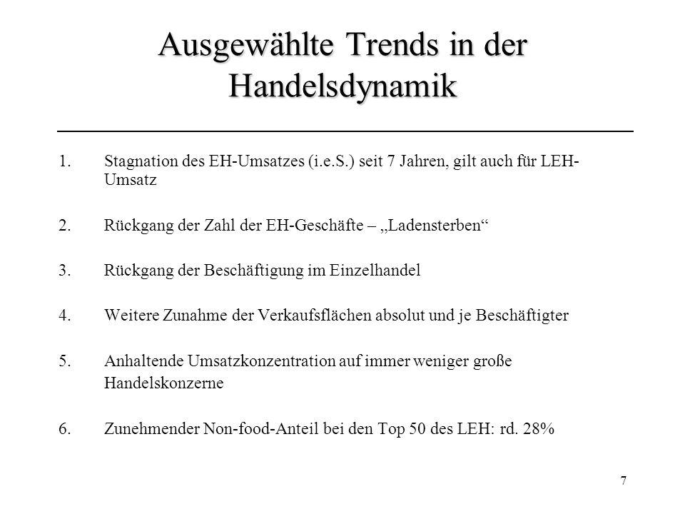 7 Ausgewählte Trends in der Handelsdynamik 1.Stagnation des EH-Umsatzes (i.e.S.) seit 7 Jahren, gilt auch für LEH- Umsatz 2.Rückgang der Zahl der EH-G