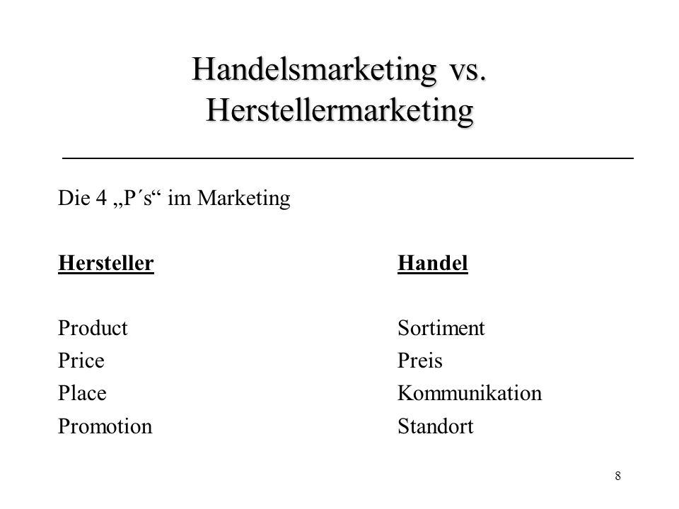 8 Handelsmarketing vs. Herstellermarketing Die 4 P´s im Marketing HerstellerHandel ProductSortiment PricePreis PlaceKommunikation PromotionStandort