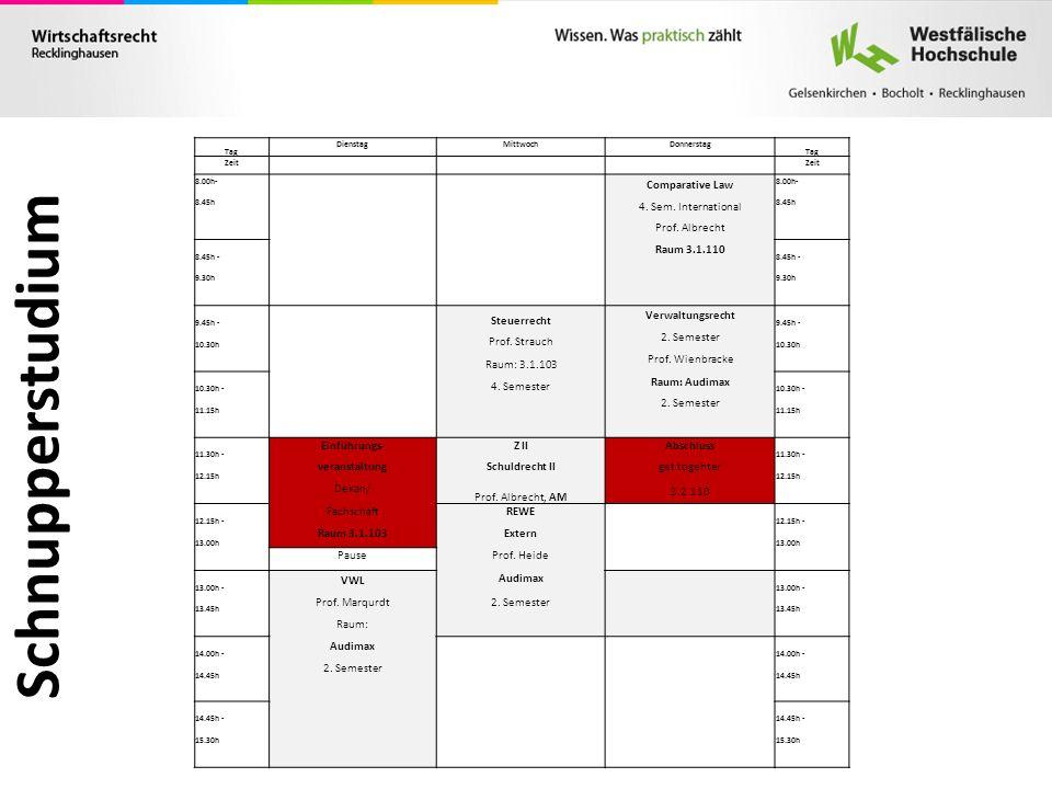 Schnupperstudium Tag DienstagMittwochDonnerstag Tag Zeit 8.00h- Comparative Law 8.00h- 8.45h 4. Sem. International 8.45h Prof. Albrecht 8.45h - Raum 3