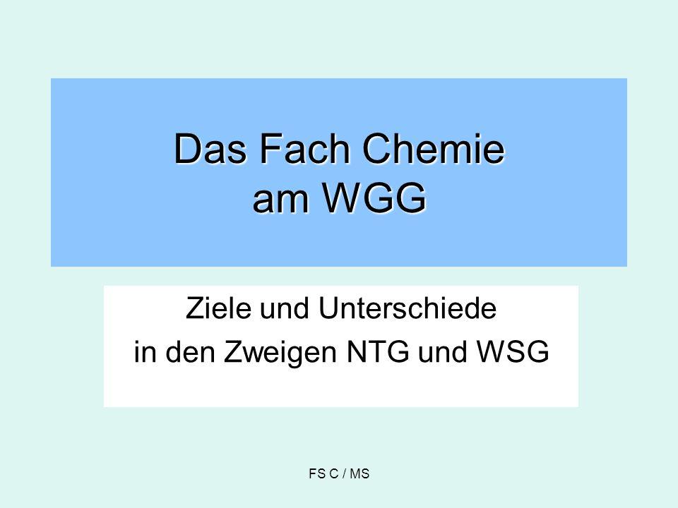 Ziele des Chemieunterrichts im NTG- und WSG-Zweig sachgerechte Beurteilung chemischer Fragen im Alltag aktive Teilnahme an der öffentlichen Diskussion zu chemischen Sachverhalten