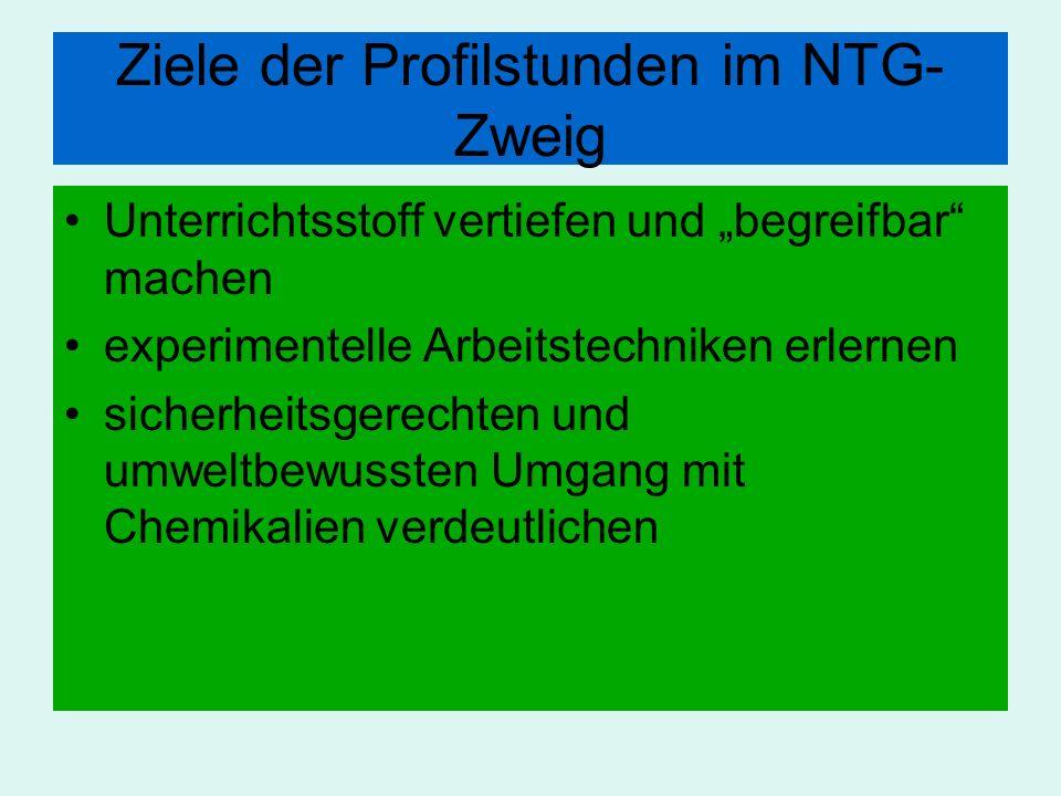 Ziele der Profilstunden im NTG- Zweig Unterrichtsstoff vertiefen und begreifbar machen experimentelle Arbeitstechniken erlernen sicherheitsgerechten u