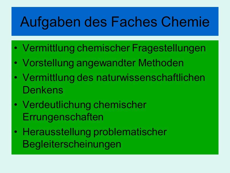 Aufgaben des Faches Chemie Vermittlung chemischer Fragestellungen Vorstellung angewandter Methoden Vermittlung des naturwissenschaftlichen Denkens Ver