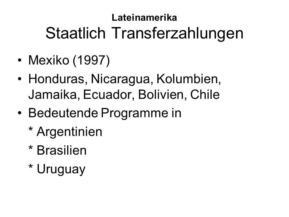 Lateinamerika Staatlich Transferzahlungen Mexiko (1997) Honduras, Nicaragua, Kolumbien, Jamaika, Ecuador, Bolivien, Chile Bedeutende Programme in * Ar
