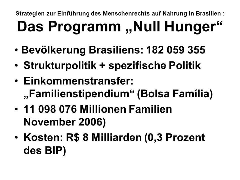 Strategien zur Einführung des Menschenrechts auf Nahrung in Brasilien : Das Programm Null Hunger Bevölkerung Brasiliens: 182 059 355 Strukturpolitik +