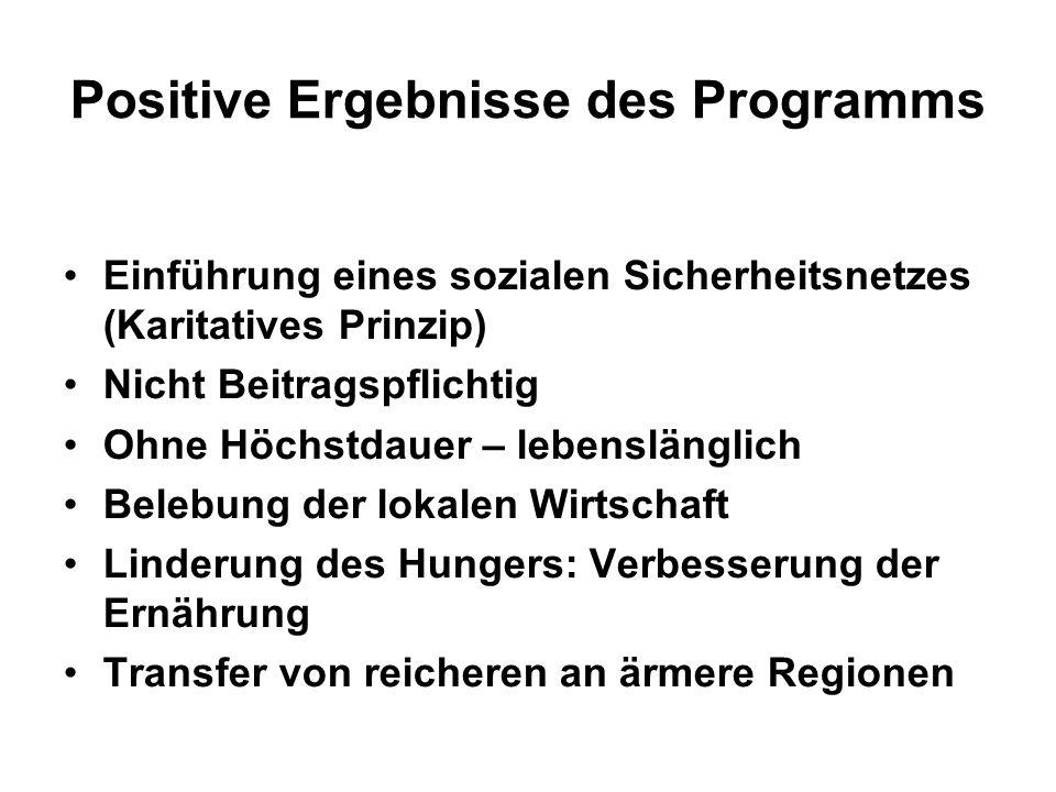 Positive Ergebnisse des Programms Einführung eines sozialen Sicherheitsnetzes (Karitatives Prinzip) Nicht Beitragspflichtig Ohne Höchstdauer – lebensl