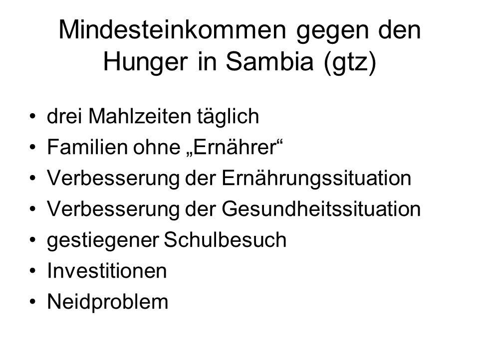 Mindesteinkommen gegen den Hunger in Sambia (gtz) drei Mahlzeiten täglich Familien ohne Ernährer Verbesserung der Ernährungssituation Verbesserung der
