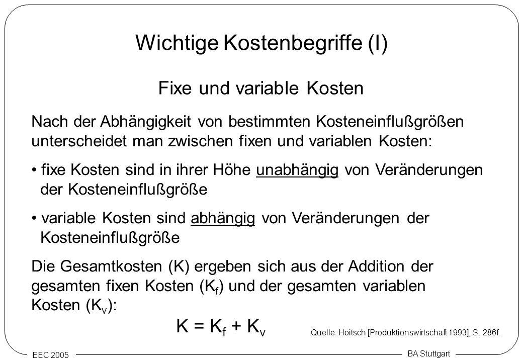 EEC 2005 BA Stuttgart Wichtige Kostenbegriffe (I) Nach der Abhängigkeit von bestimmten Kosteneinflußgrößen unterscheidet man zwischen fixen und variab