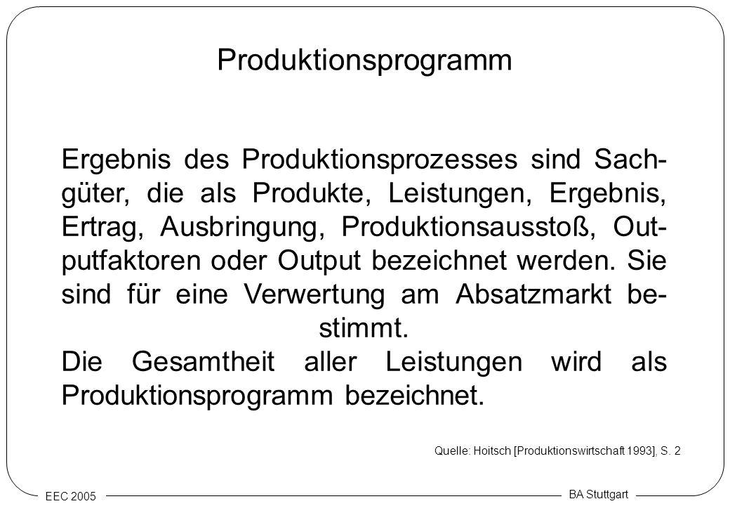 EEC 2005 BA Stuttgart Produktionsprogramm Ergebnis des Produktionsprozesses sind Sach- güter, die als Produkte, Leistungen, Ergebnis, Ertrag, Ausbring