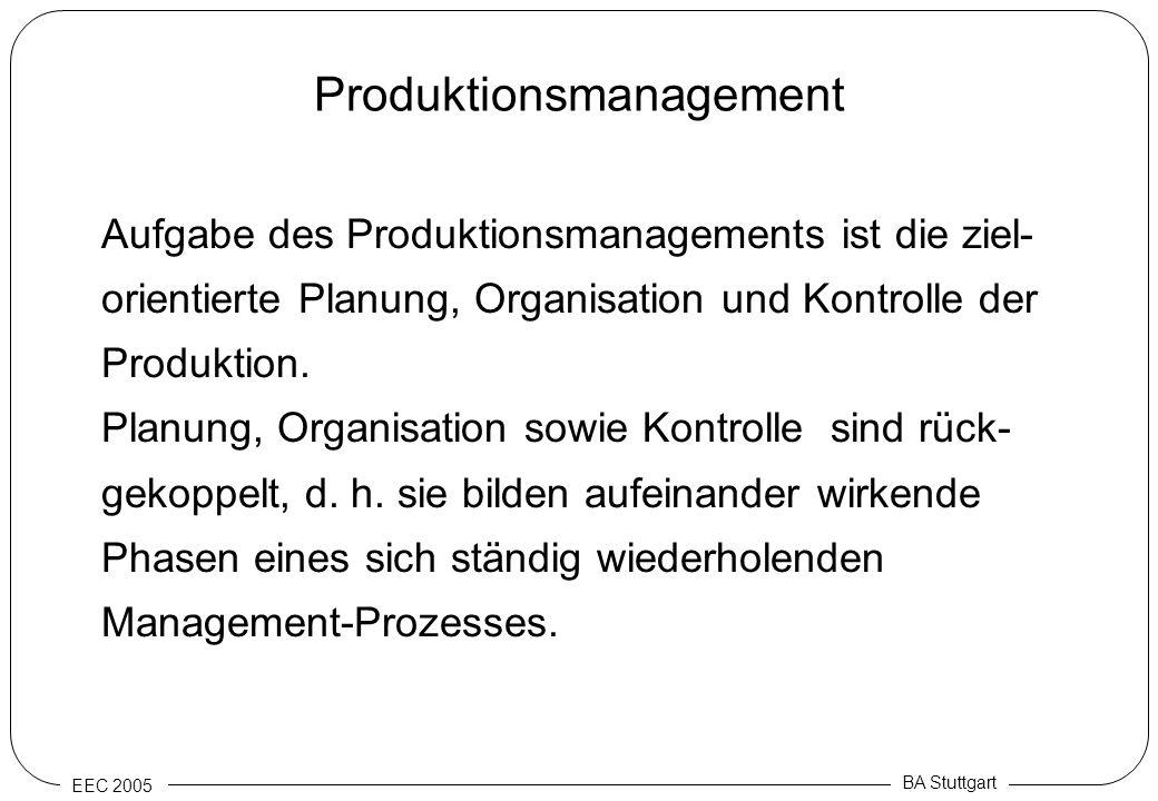 EEC 2005 BA Stuttgart Produktionsmanagement Aufgabe des Produktionsmanagements ist die ziel- orientierte Planung, Organisation und Kontrolle der Produ