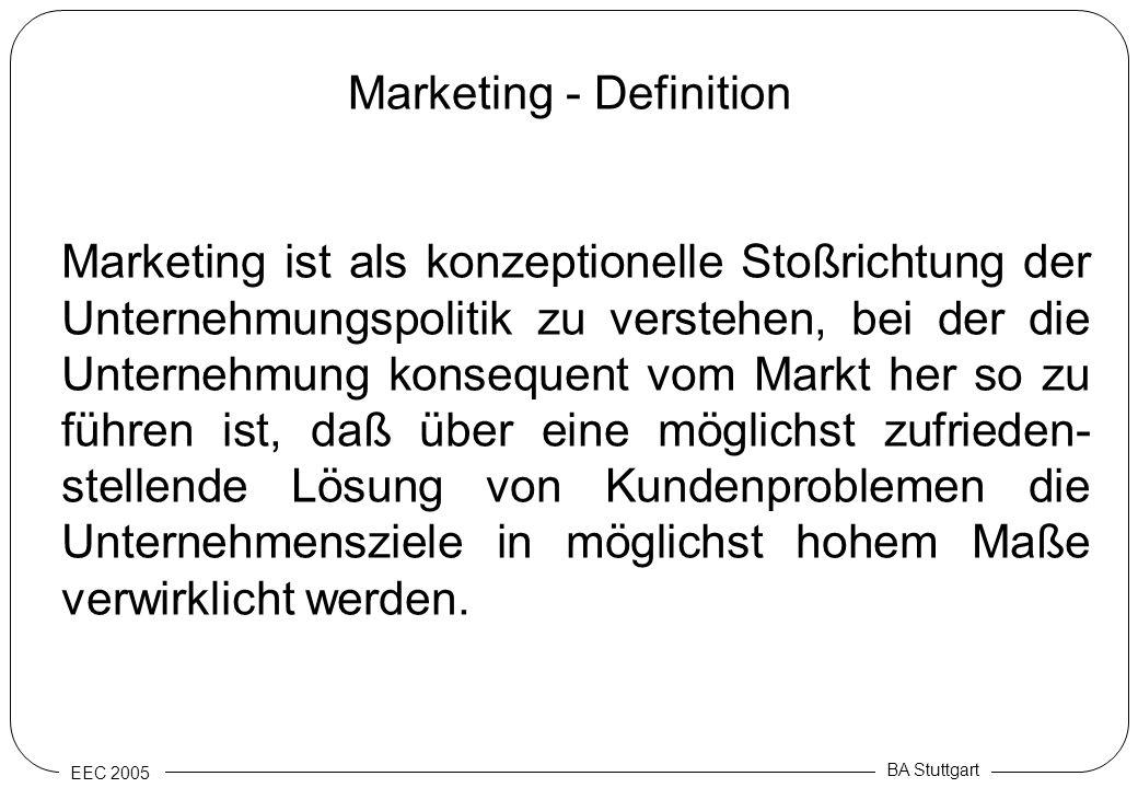 EEC 2005 BA Stuttgart Marketing - Definition Marketing ist als konzeptionelle Stoßrichtung der Unternehmungspolitik zu verstehen, bei der die Unterneh
