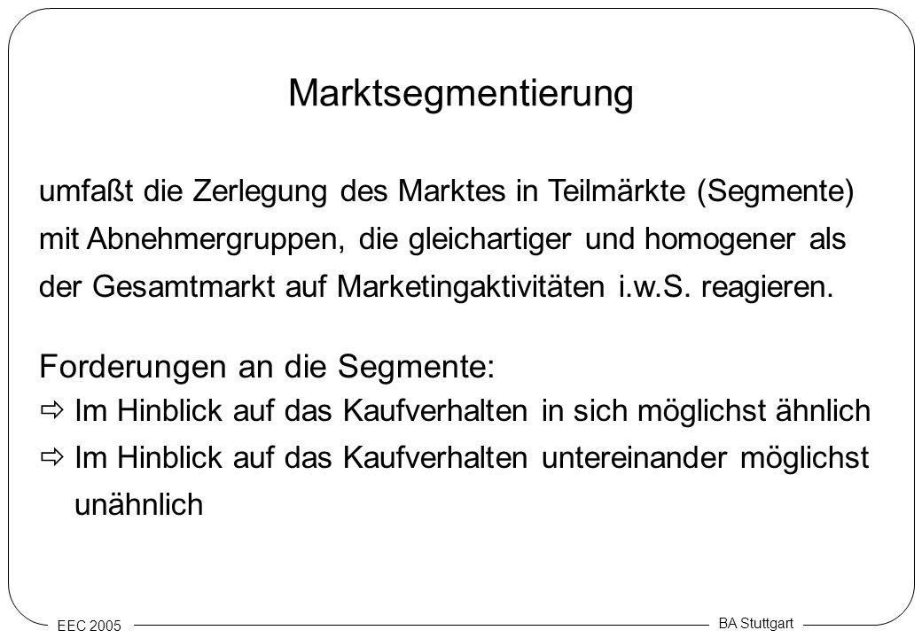 EEC 2005 BA Stuttgart Marktsegmentierung umfaßt die Zerlegung des Marktes in Teilmärkte (Segmente) mit Abnehmergruppen, die gleichartiger und homogene