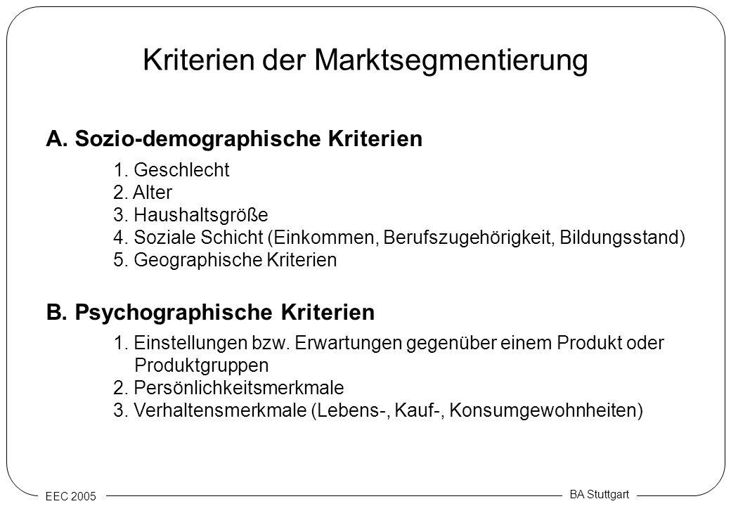 EEC 2005 BA Stuttgart Kriterien der Marktsegmentierung A. Sozio-demographische Kriterien 1. Geschlecht 2. Alter 3. Haushaltsgröße 4. Soziale Schicht (