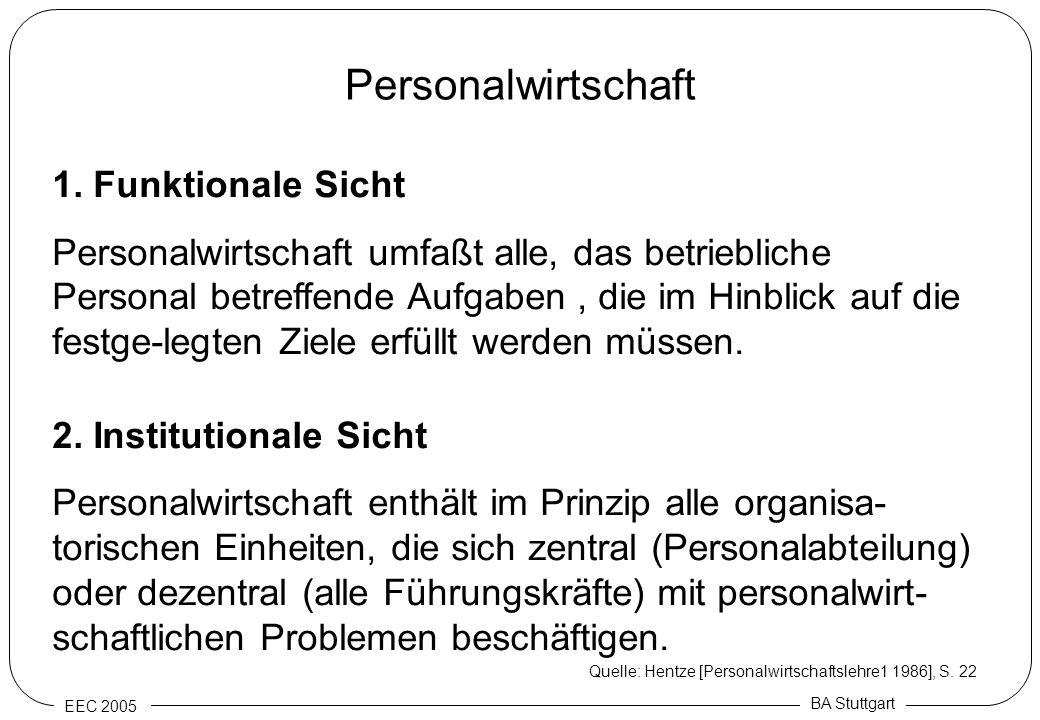 EEC 2005 BA Stuttgart Personalwirtschaft 1. Funktionale Sicht Personalwirtschaft umfaßt alle, das betriebliche Personal betreffende Aufgaben, die im H