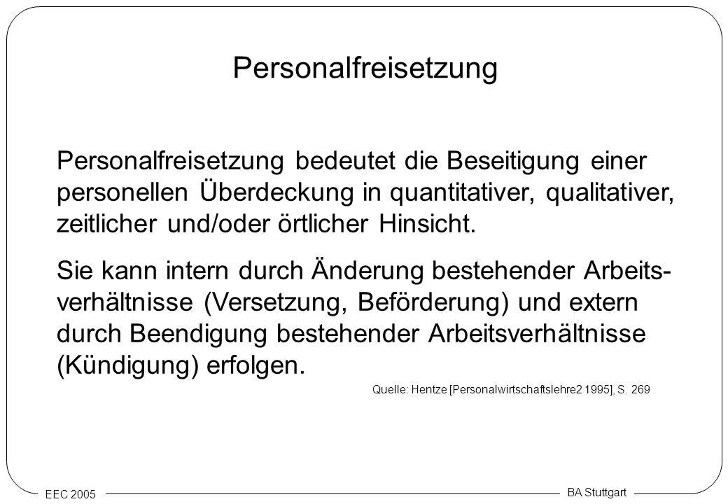 EEC 2005 BA Stuttgart Personalfreisetzung Personalfreisetzung bedeutet die Beseitigung einer personellen Überdeckung in quantitativer, qualitativer, z