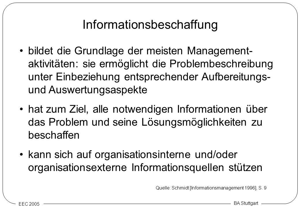 EEC 2005 BA Stuttgart Informationsbeschaffung bildet die Grundlage der meisten Management- aktivitäten: sie ermöglicht die Problembeschreibung unter E