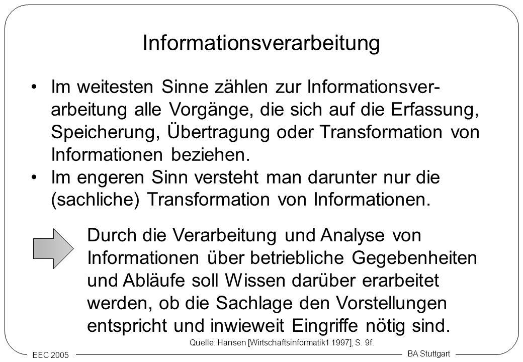 EEC 2005 BA Stuttgart Informationsverarbeitung Im weitesten Sinne zählen zur Informationsver- arbeitung alle Vorgänge, die sich auf die Erfassung, Spe